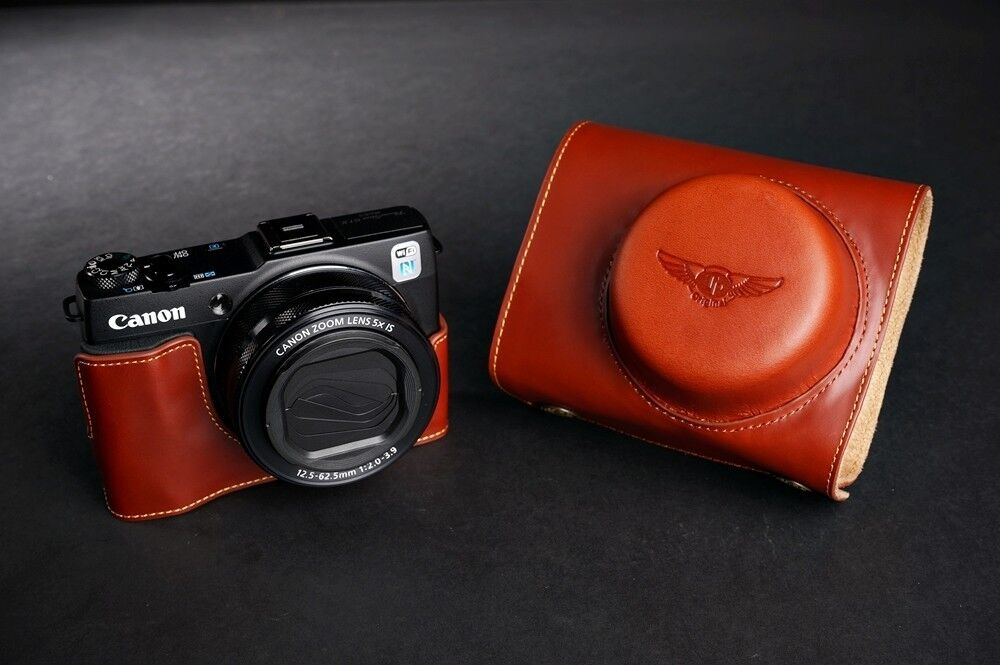 Retro style leather bag with lanyard for canon g1x mark ii(coffee)