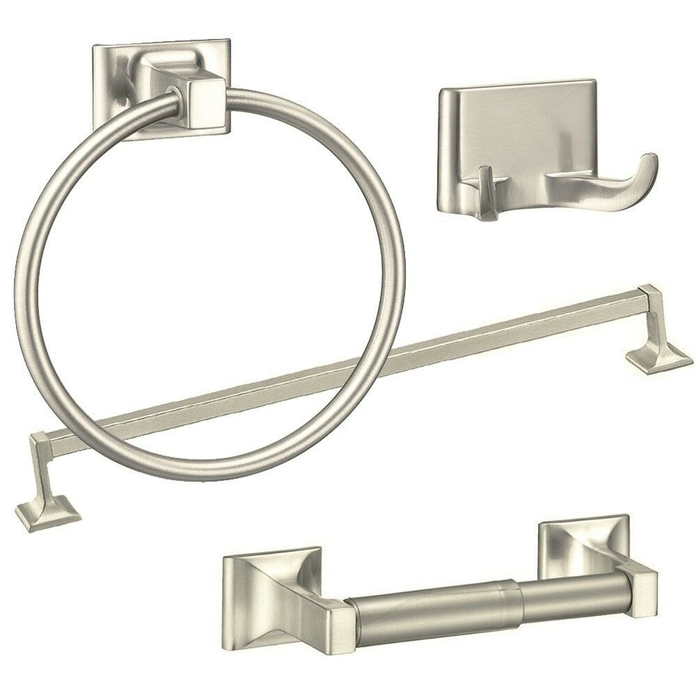 4 piece towel bar set bath accessories bathroom hardware for Bathroom hardware sets