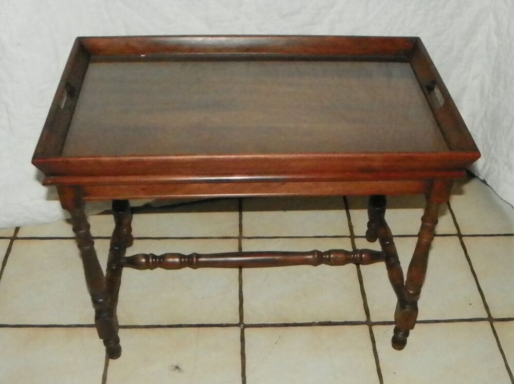 Small walnut coffee table with lift off serving tray rp for Trays on coffee tables