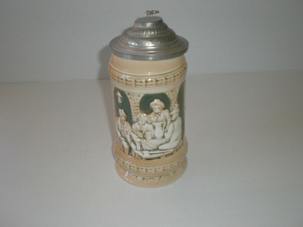 vintage german decorative lidded beer stein 5l sitzendorfer germany ebay. Black Bedroom Furniture Sets. Home Design Ideas