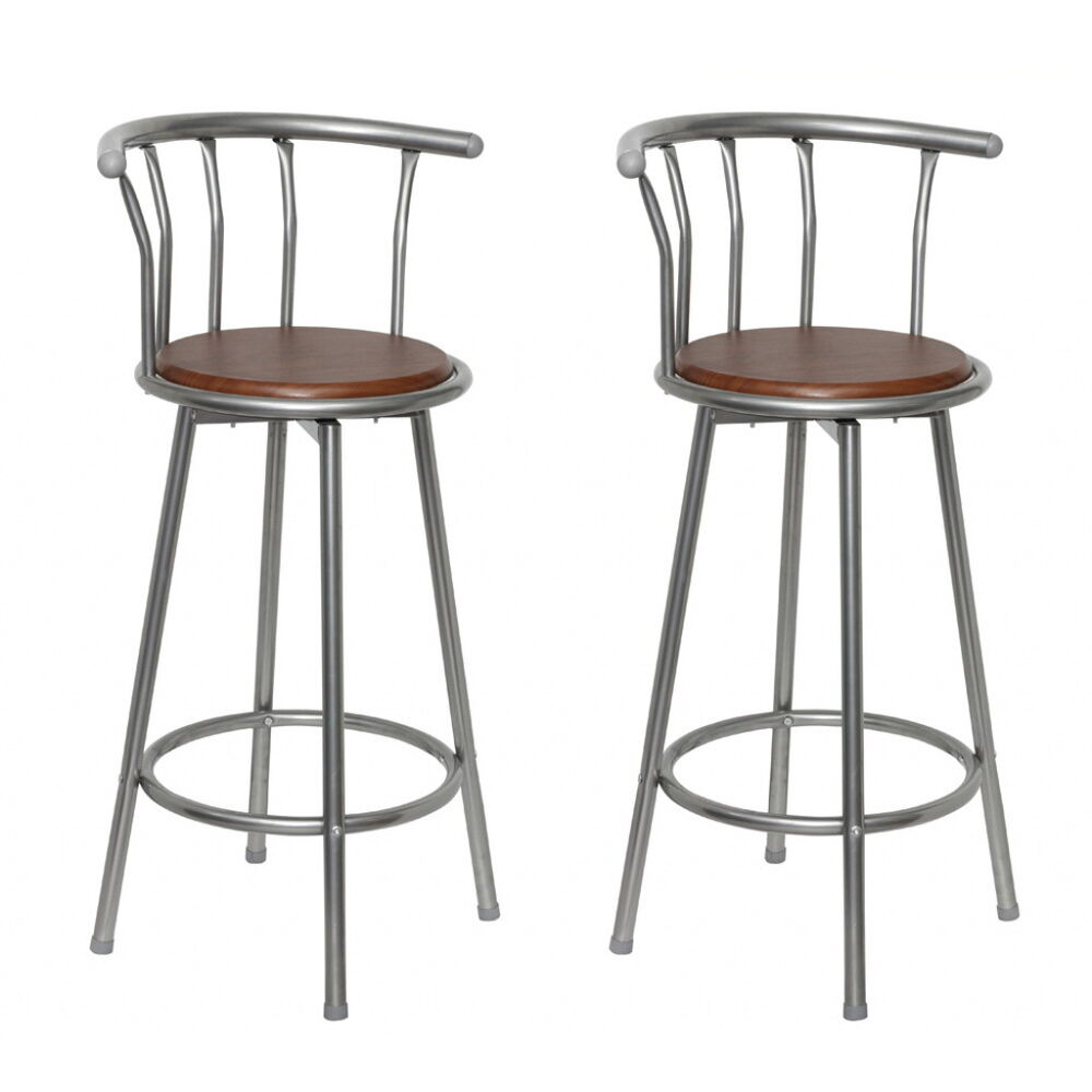 Set Of 2 Retro Stool Kitchen Breakfast Swivel Bar Stools