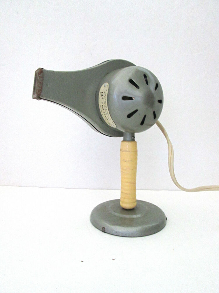 Vtg 50s Gray Metal Chic Stand Hair Dryer Mid Century