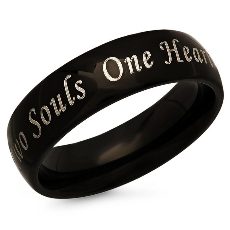 two souls one stainless steel black promise ring