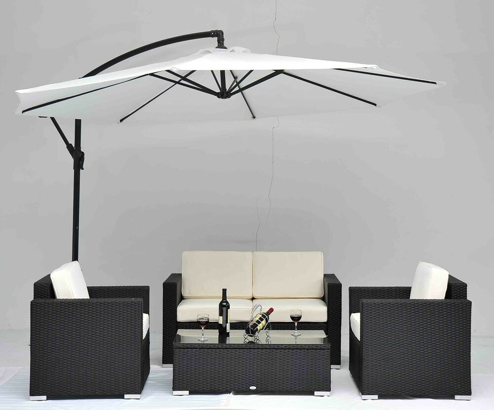 Outdoor rattan set 4 pcs sofa wicker sectional garden for Outdoor couch set