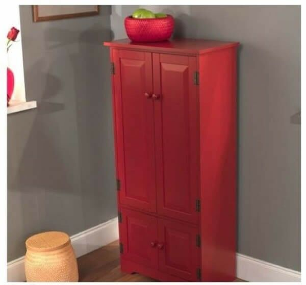 Red Tall Cabinet Storage Kitchen Pantry Organizer Furniture Bathroom Cupboard Ebay