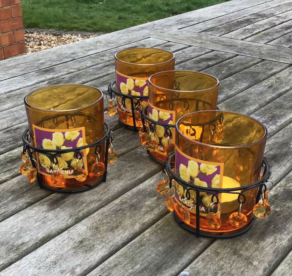 tea light holders orange glass lanterns conservatory garden wedding party ebay. Black Bedroom Furniture Sets. Home Design Ideas
