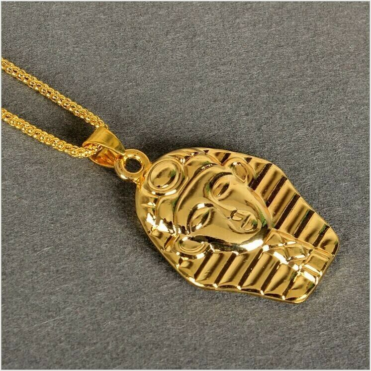 New Last Kings PHARAOH 24K Gold Pendant Iced Out Necklace ...