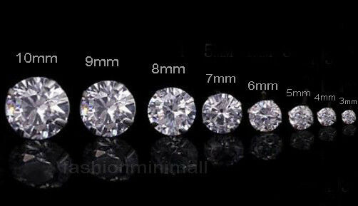 One Day Ship Mens Womens Stainless Steel Studs Earrings With Artificial Diamond Ebay