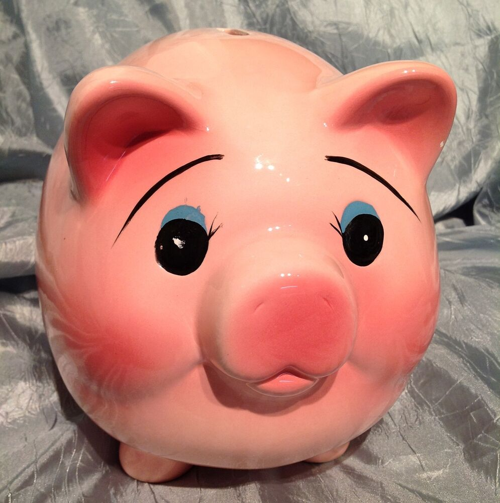 Large Mid Century Vintage Pottery Piggy Bank Fat Belly