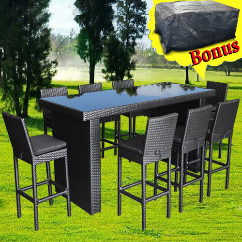 Outdoor Furniture Bar Table Chairs Patio Dining Pool High Rattan