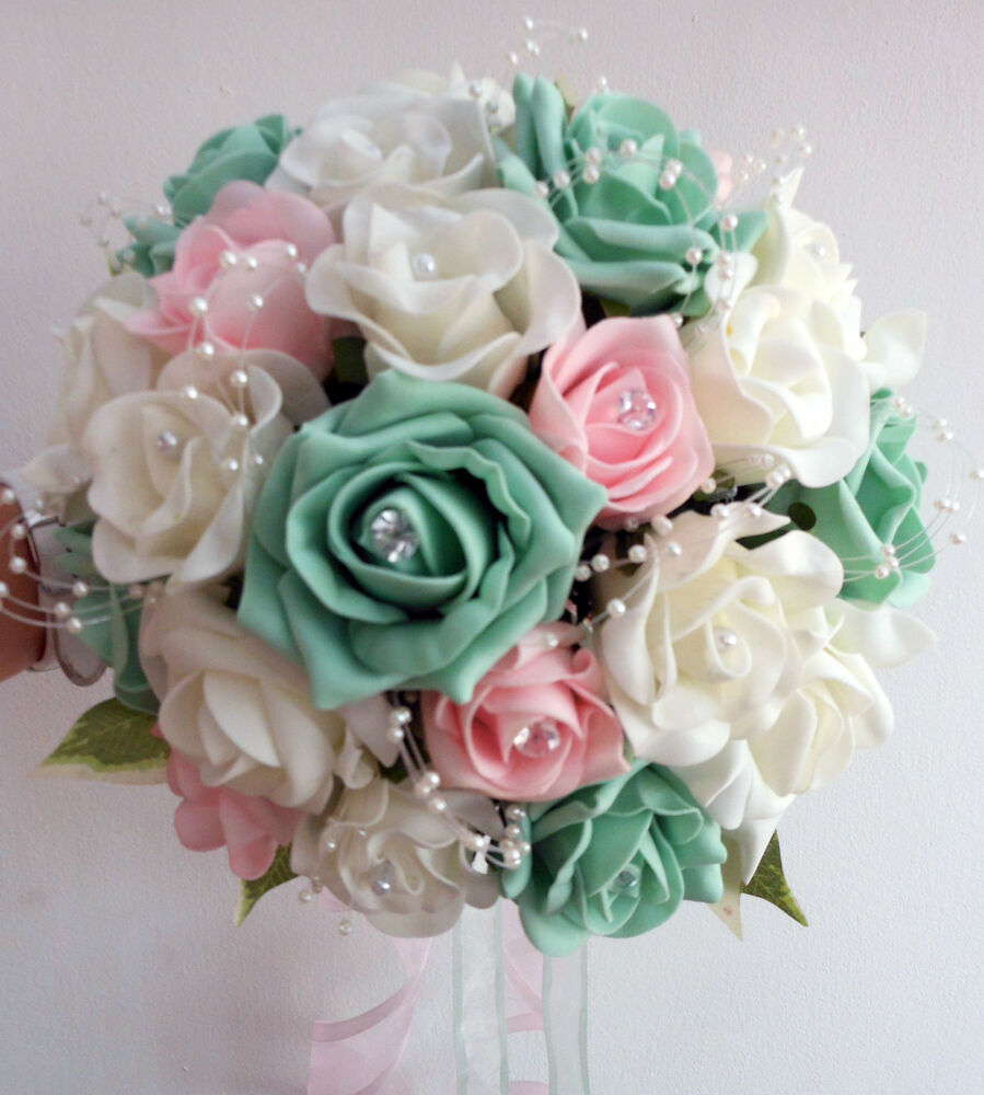 , Wedding Flowers Brides Bouquet Ivory & Pale Pink & Mint