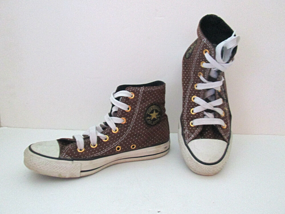 Converse All Star brown polka dot stitched logo high top ...