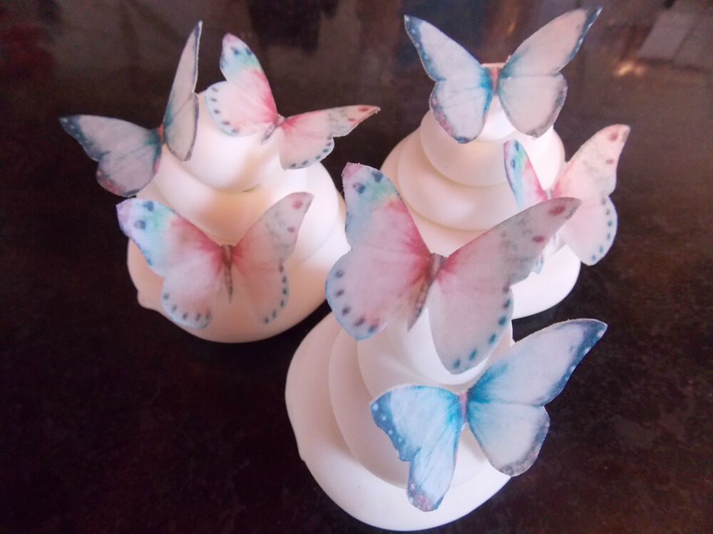 Butterfly Wafers Cake Decoration : 40 PRECUT pink and blue Edible wafer/rice paper ...