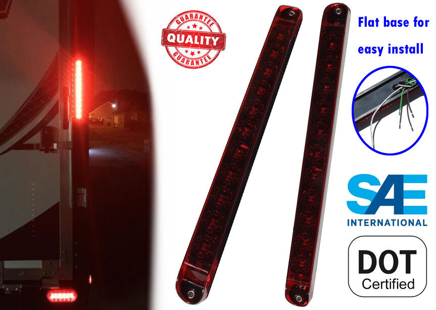 2x Red 17 Quot Trailer Truck Stop Tail And Turn Light Bar Led
