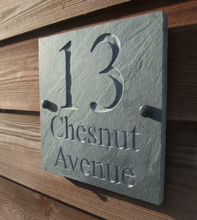 Engraved natural riven slate house door sign name number for Door name signs