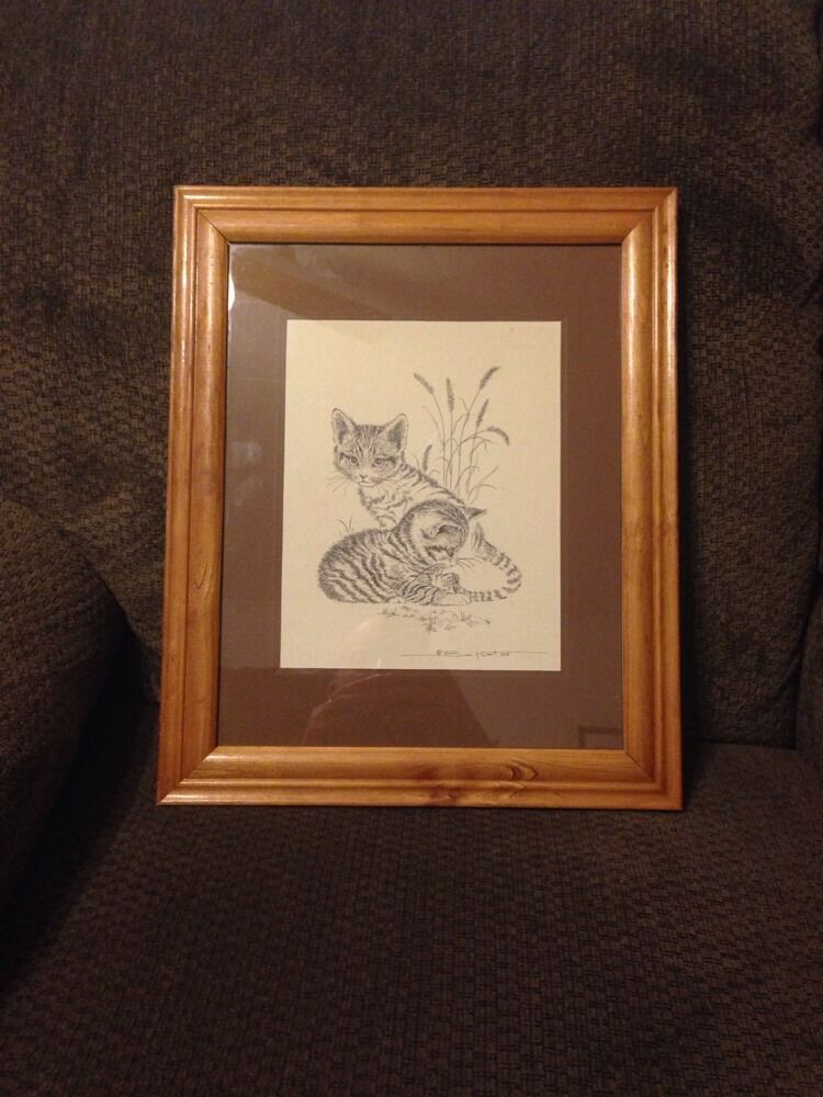 Bill Neat Framed Print Of Two Kittens Signed And Dated