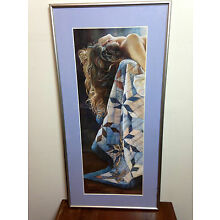 Steve Hanks Double Signed Nude Woman With Quilt Gallery Framed Print 1984 RARE!!