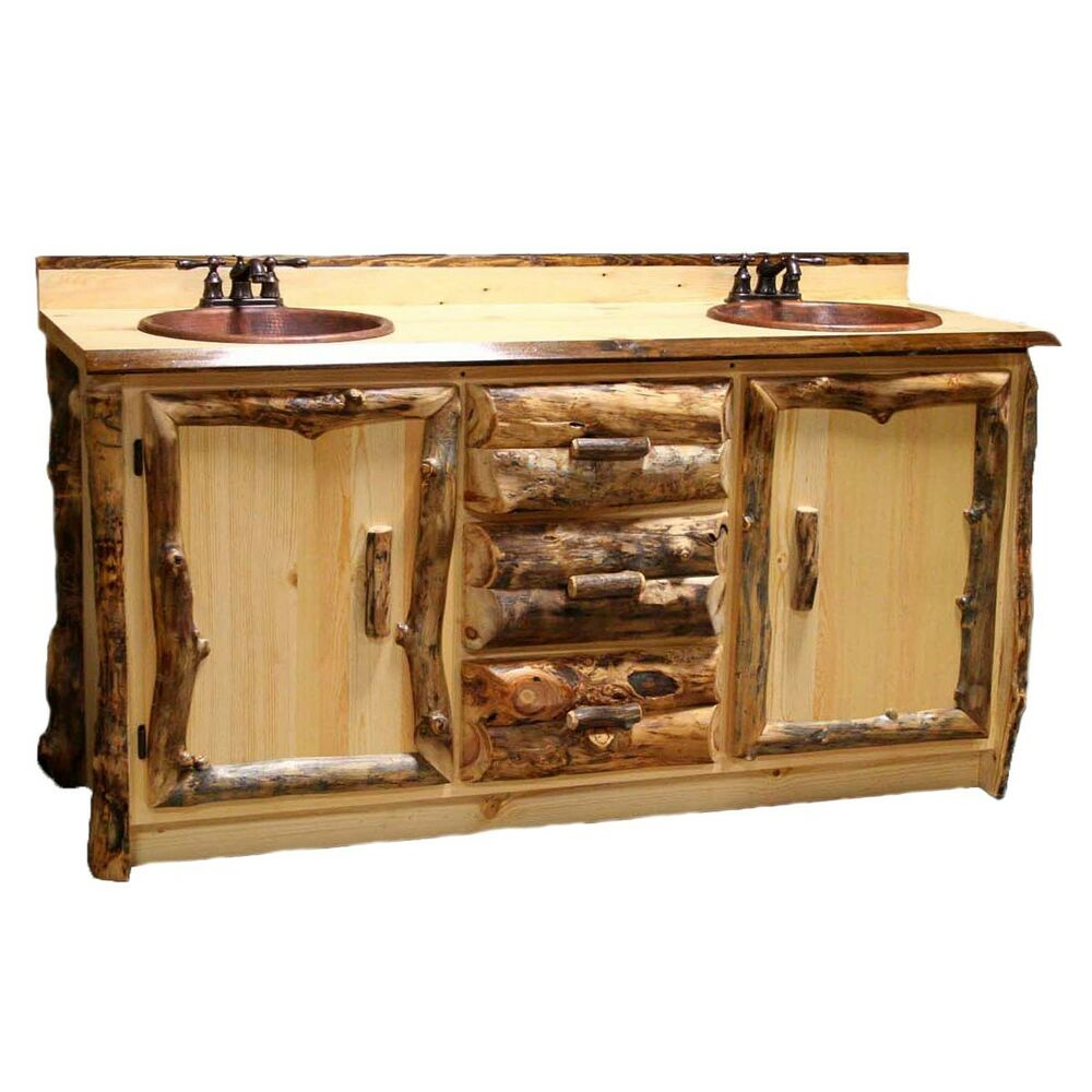 vanity country western rustic cabin wood bathroom
