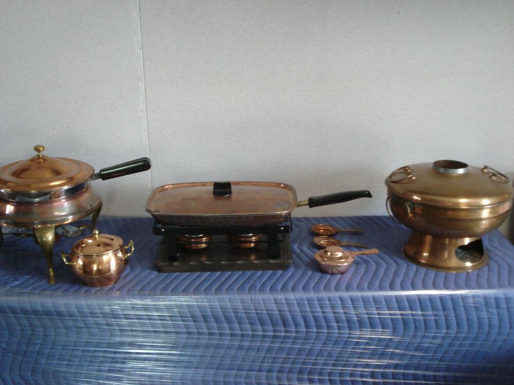 7 piece antique vintage copper cookware set savoir vivre for Art and cuisine cookware