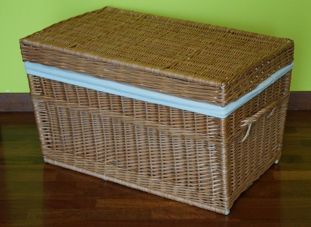 Wicker Toy Basket With Lid : Wicker chest storage trunk solution willow box lid toy