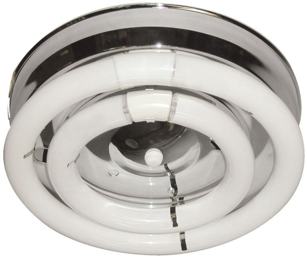 2 Fluorescent Circline Open Bulb Chrome Ceiling Hallway Kitchen Light Fixture