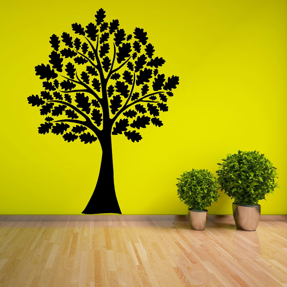 Oak Tree With Leaves Vinyl Wall Art Room Sticker Decal Woodland Forest Theme Ebay