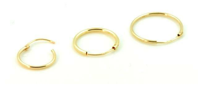 Mens Single 9ct Gold Plain Hoop Sleeper Earring 9mm 16mm