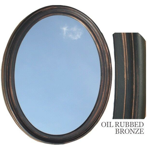 Framed Bathroom Mirrors Bronze bathroom mirror vanity oval framed wall mirror, oil rubbed bronze
