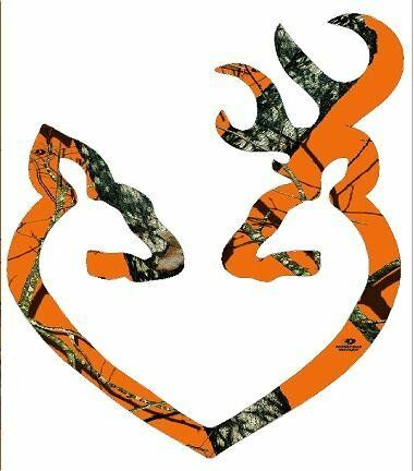 Browning Style Orange Camo Buck And Doe Heart Sticker