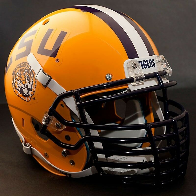 """TIGERS"" Football  Helmet TIGERS Nameplate Decal LSU"