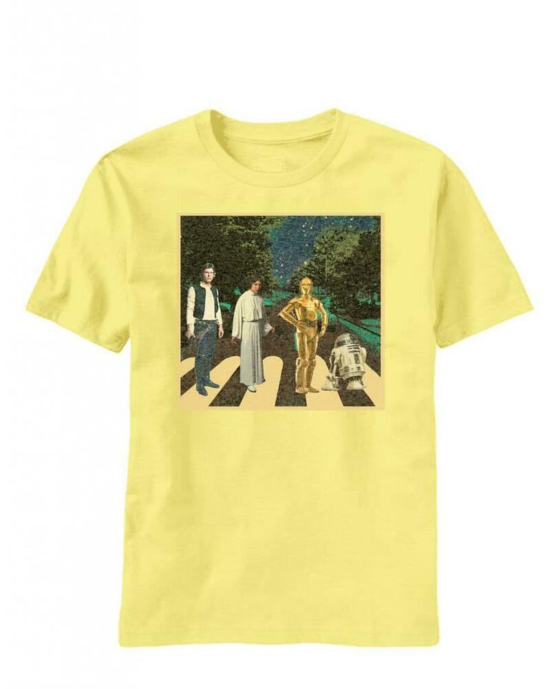 adult yellow movie star wars abbey road han solo r2d2 leia c 3po t shirt tee ebay. Black Bedroom Furniture Sets. Home Design Ideas