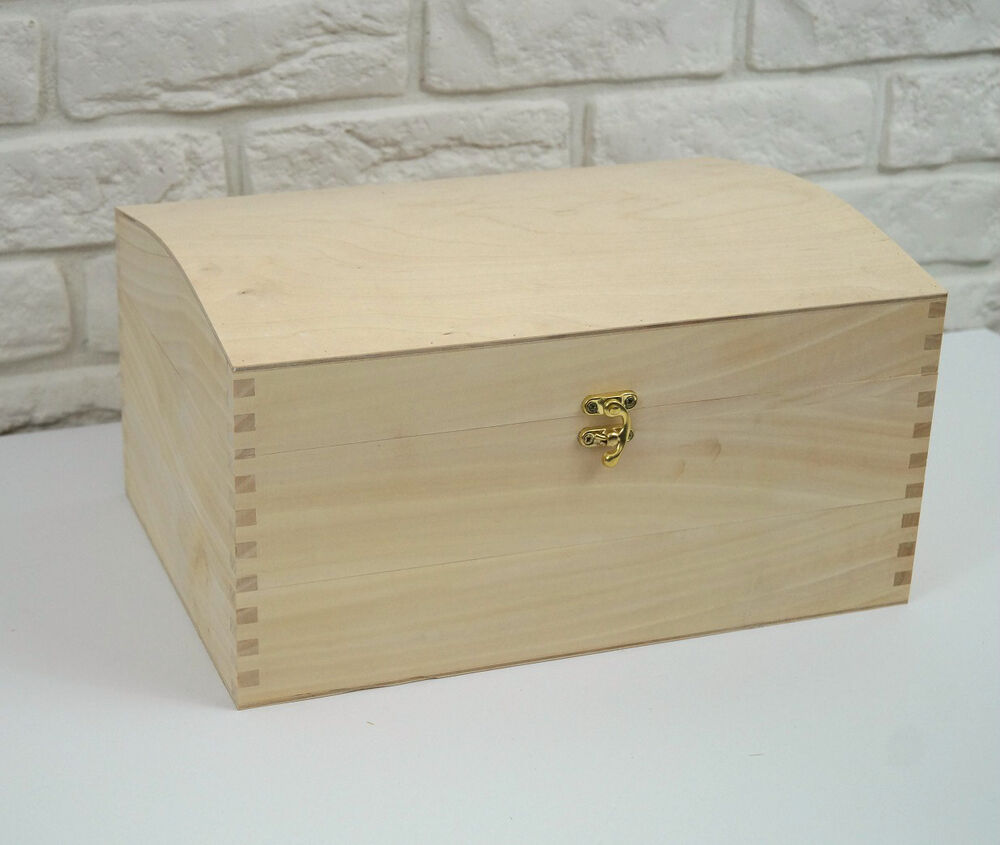 x large treasure chest plain wooden box decoupage craft ebay. Black Bedroom Furniture Sets. Home Design Ideas