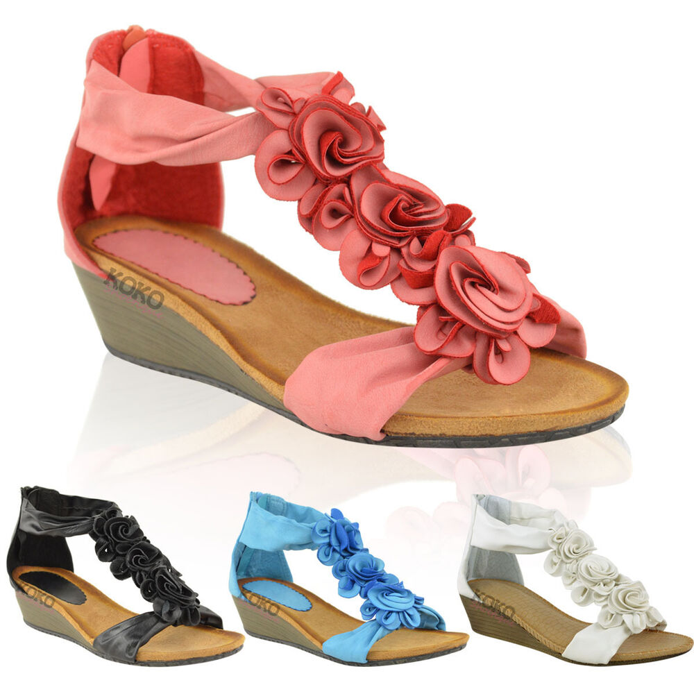 wedges shoes womens summer sandals strappy flowers low