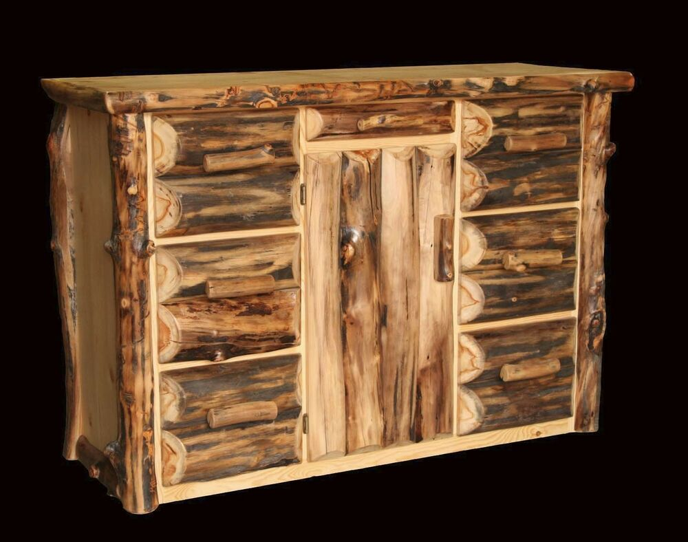 Rustic Log Office Console Buffet Western Country Cabin