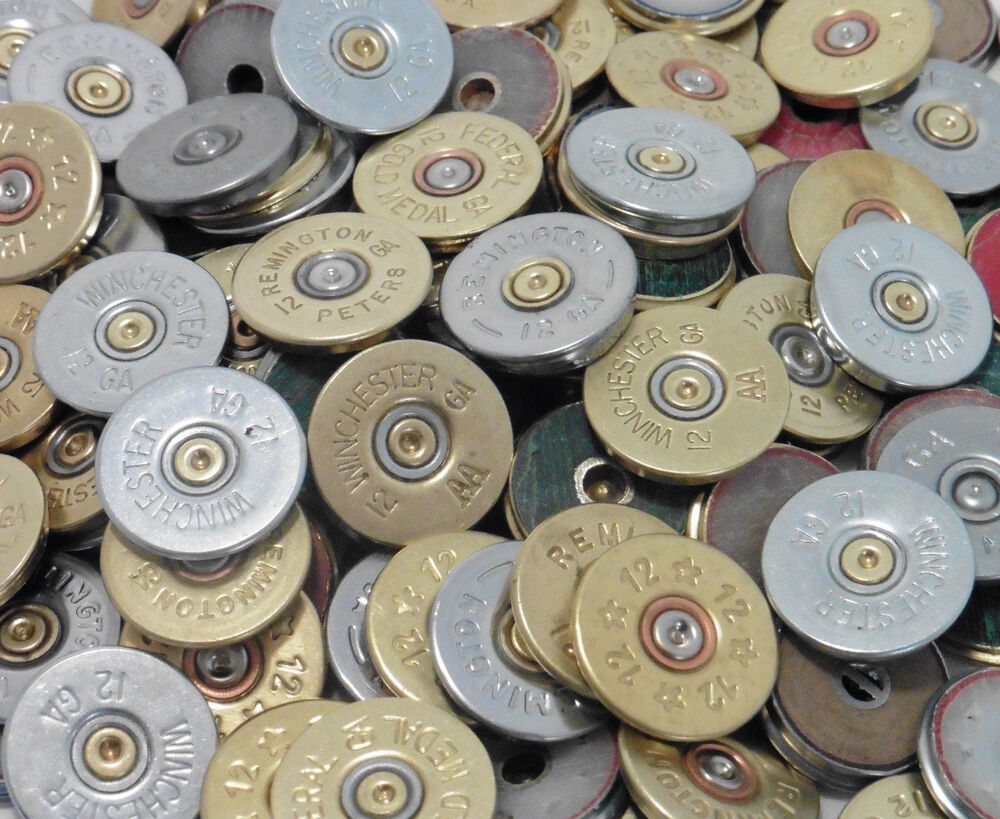 Thin cut polished in lots of 12 shotgun shell heads for Craft and jewelry supplies