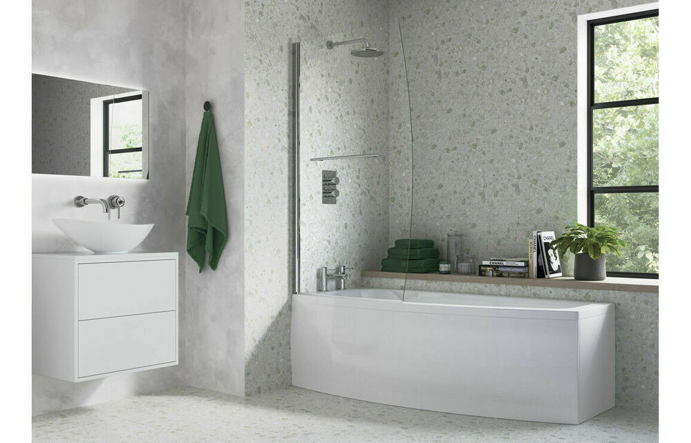 Space Saver Shower Bath White Right Or Left Hand Inc Panel And Screen Ebay