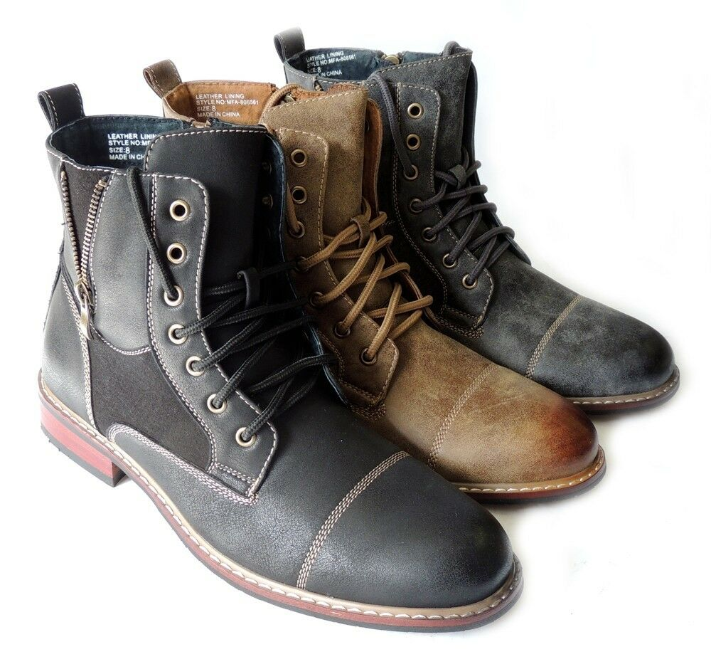 New Fashion Mens High Ankle Boots Military Combat Style Lace Up Zippered Shoes Ebay