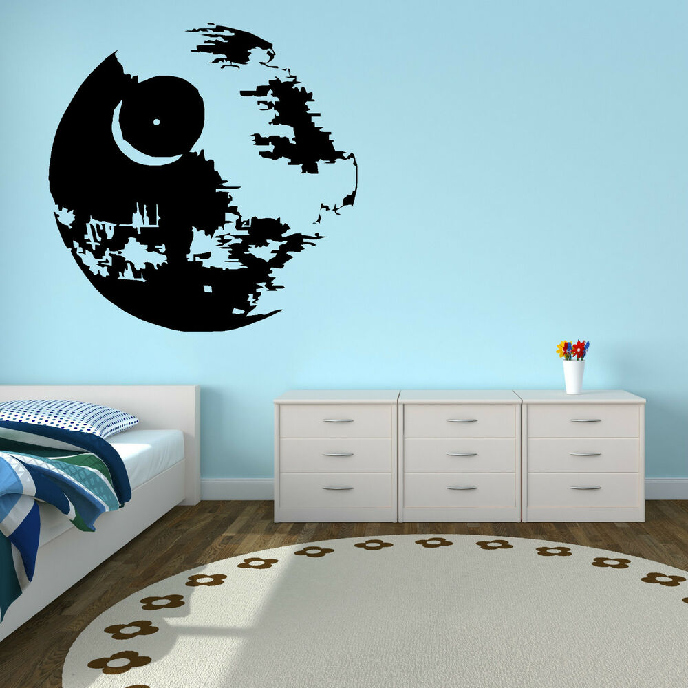 Star wars death star vinyl wall art sticker decal ebay for Death star wall mural