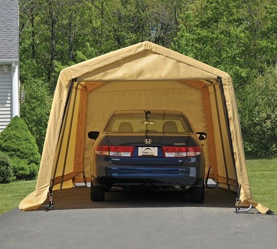 Shelterlogic 10x20x8 auto storage shelter portable garage for Carports and garages