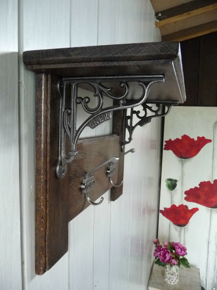 Vintage Style Coat Rack Solid Oak With Shelf Country Home