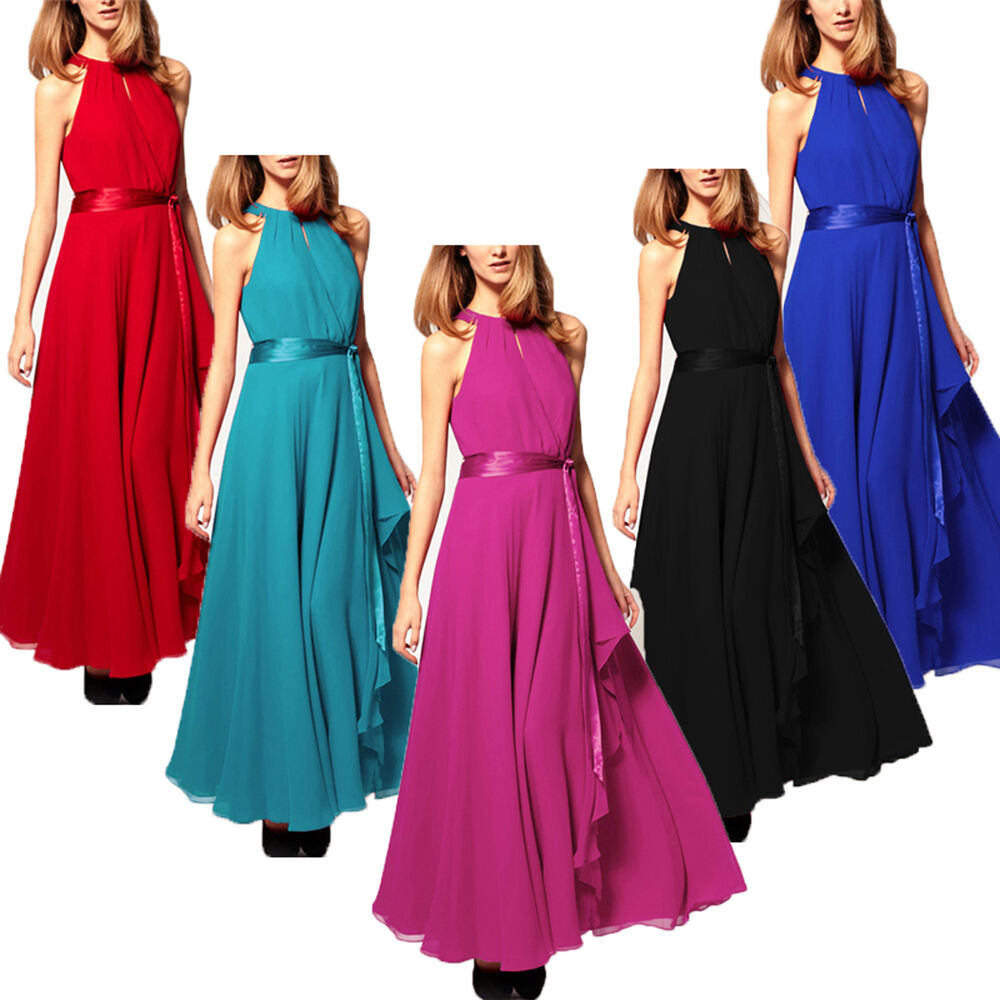 Renaissance Long Pageant Bridesmaids Evening Formal Party: Long Maxi Chiffon Evening Ball Gown Bridesmaid Dresses
