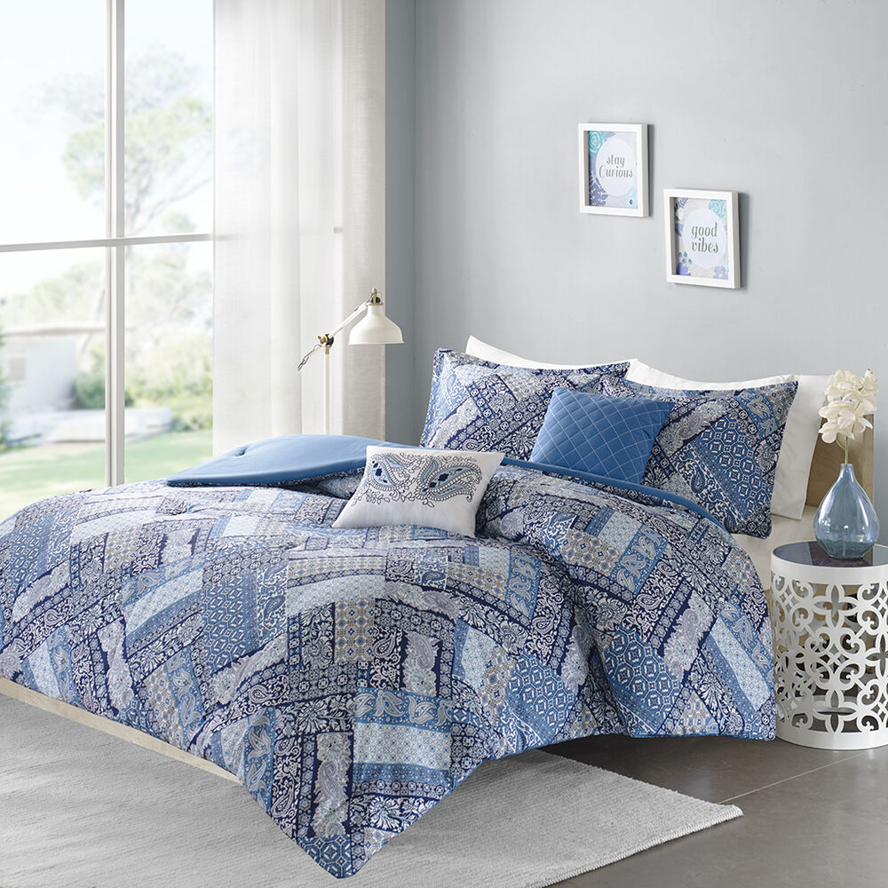 Beautiful modern chic blue grey taupe bohemian patchwork for Purple and taupe bedroom
