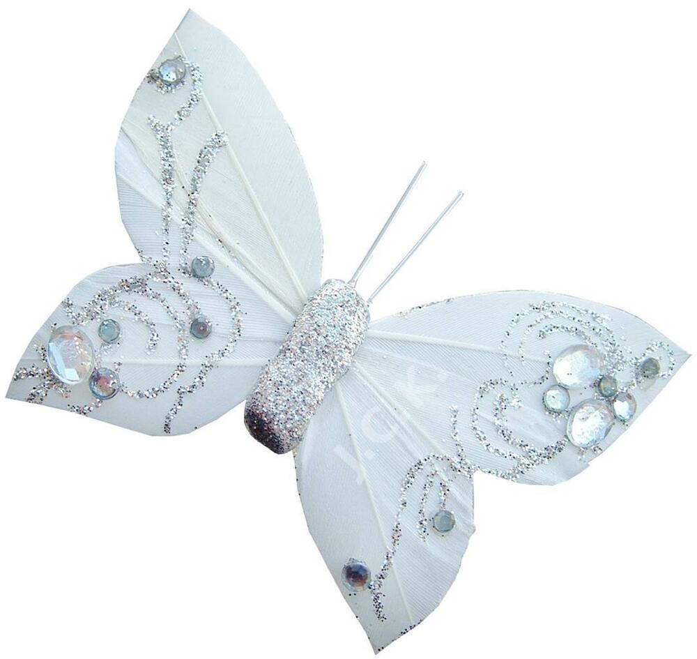 White silver feather butterfly clip wedding birthday for Decoration 4 cake