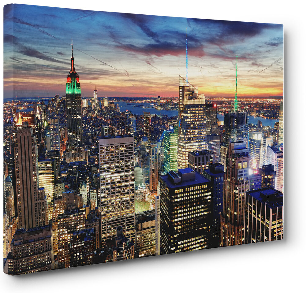 new york city skyline cityscape canvas print wall art picture a1 a2 ebay. Black Bedroom Furniture Sets. Home Design Ideas