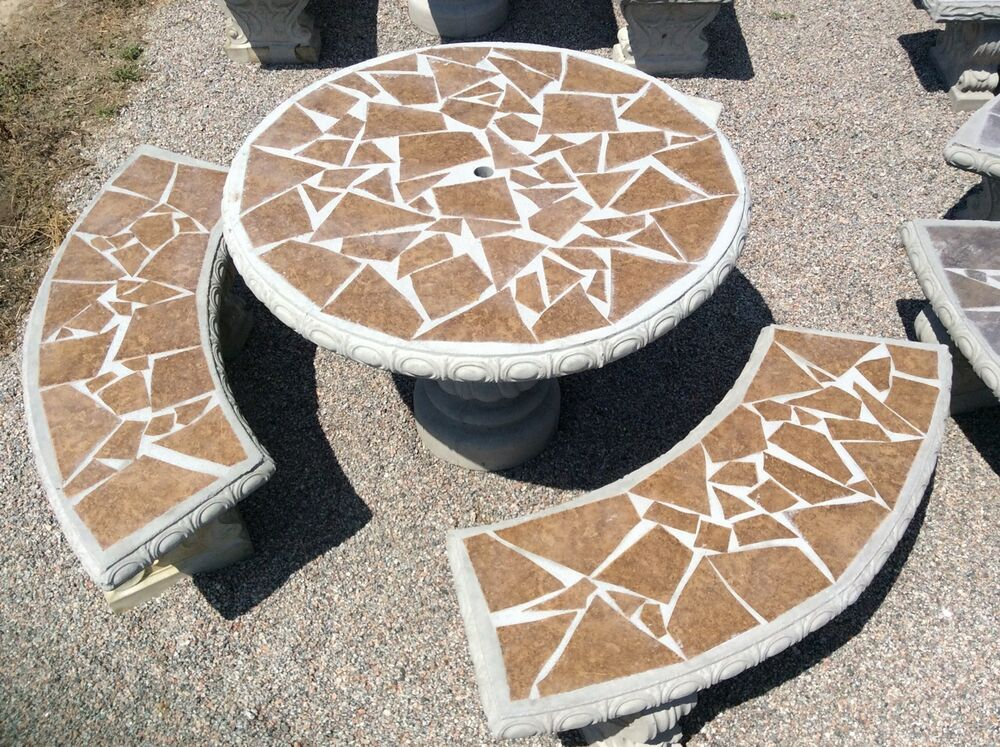 Mosaic Concrete Table Set With Tile Inlay Patio Furniture