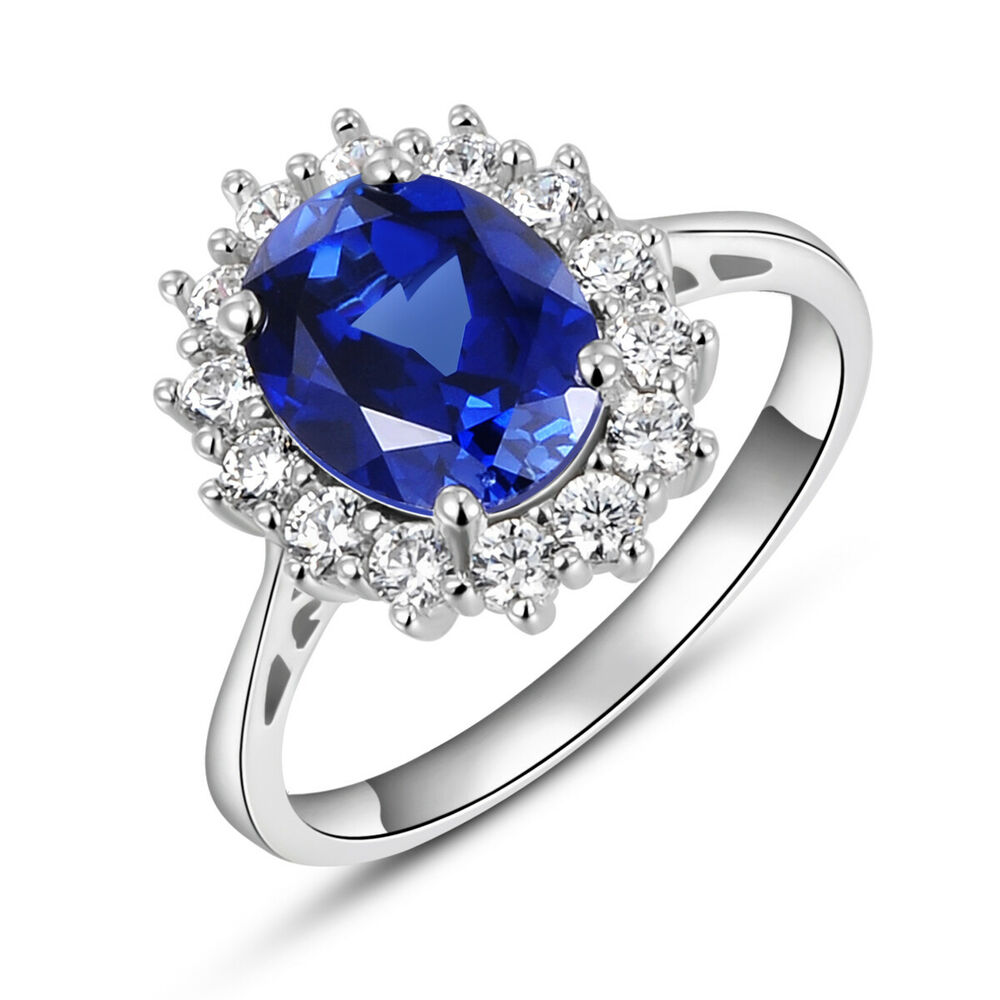 2.5CT Oval Blue Sapphire White Topaz 925 Sterling Silver ...