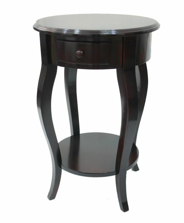 Urbanest wood round accent side end table w drawer and for Black wood side table