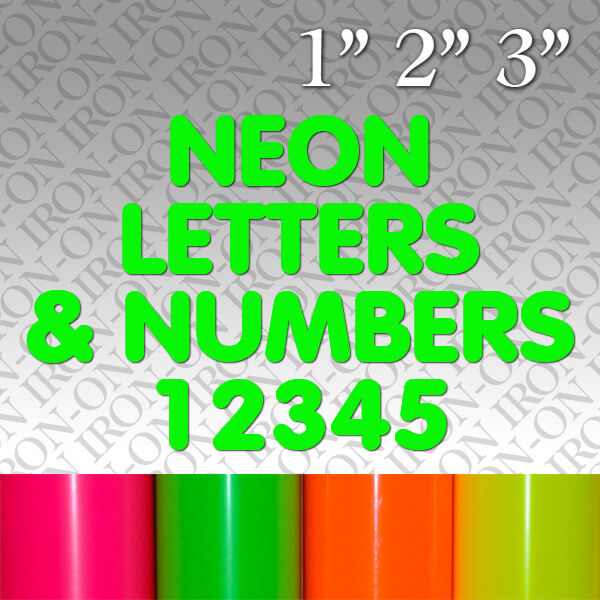 iron on letters and numbers fluorescent neon letters numbers iron on fabric t shirt 22594 | s l1000