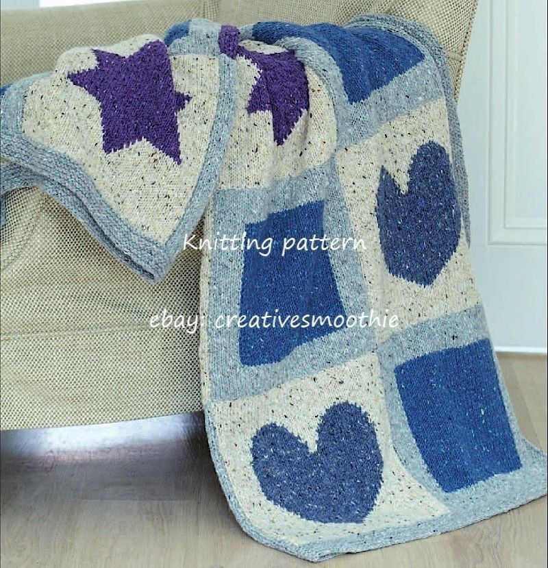 Knitting Patterns Blankets Patchwork : (437) Patchwork blanket - Star, Heart & Square Motifs, Aran Knitting Patt...