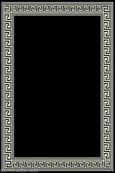 8x10 Area Rug Modern Greek Key Design Solid Black With